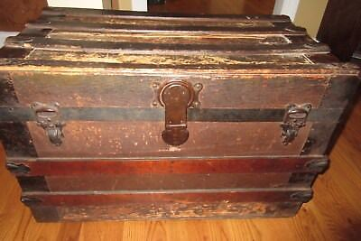 Late 1800's Flat Top Steamer Trunk + Contents