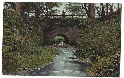 DUNDEE Mains Bridge, Old Postcard by Valentine Postmarked Dundee 1910