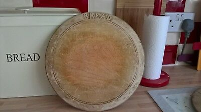 Vintage Wood Bread Board Naive Carved Lettering