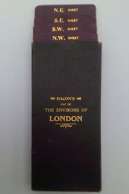 c1910, Bacon's Environs of London, Four Folding Linen Backed Maps