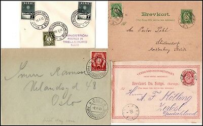 Norwegen: two postal stationery cards and two covers 1884/1950 (567)
