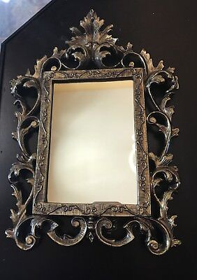 Antique Vintage Ornate Frame Table Mirror Brass Cast
