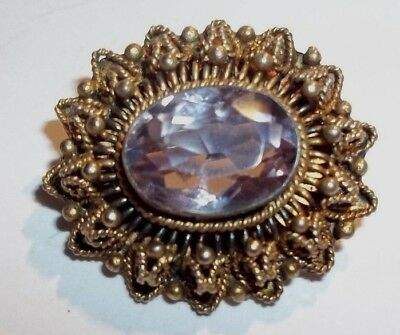 Beautiful Little  Vintage Oval Gold Filigree Pin With Faceted Amethyst Stone