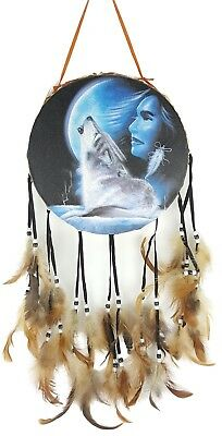 Native American Style DECORATIVE DRUM Indian Maiden Howling Wolf Wall Hanging