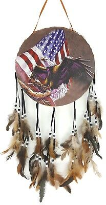 Native American Style DECORATIVE DRUM Indian EAGLE AMERICAN FLAG Wall Hanging