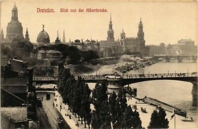VIEW OF RIVER ALBERT BRIDGE DRESDEN GERMANY POSTCARD  Frauenkirche Elbe