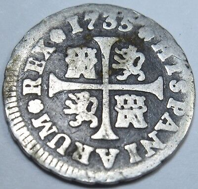 1735 Spanish Silver 1/2 Reales Coin Piece Of 8 Real Pirate Shipwreck Treasure?