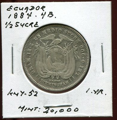 ** Ecuador 1884 Heaton , 1/2 Sucre...one Yr., Scarce 2O K Minted **