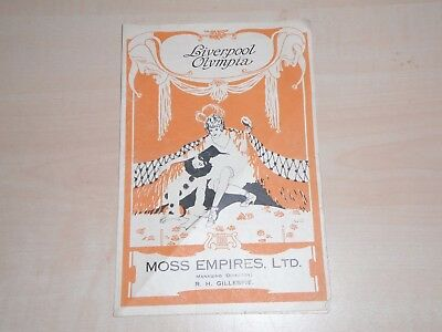 1923 Liverpool Olympia Theatre West Derby Rd Programme Gracie Fields Mr Tower Of