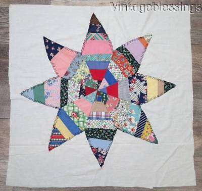 Super Large Vintage 30s Applique Strippy Feedsack Star Quilt Block 30x29""