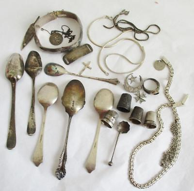 JOB LOT SCRAP SILVER 150 grams ALL HALLMARKED or TESTED THIMBLES, SPOONS ETC