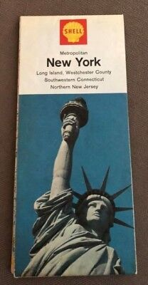 1960s SHELL OIL Metropolitan New York  CT New Jersey STATUE OF LIBERTY MAP