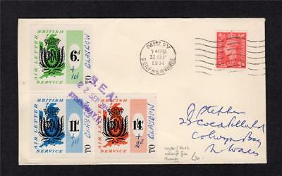 3x BEA LABELS WITH MANUSCRIPT SURCHARGES USED ON 1951 COVER