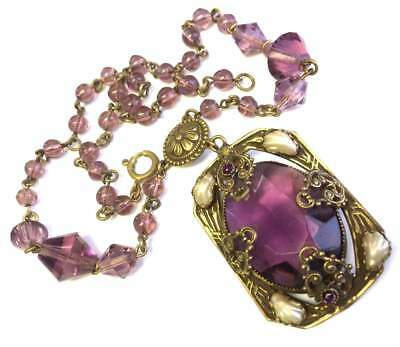 Vtg ANTIQUE Art Deco or Victorian Necklace Purple Glass Crystal Bead Pearl NICE