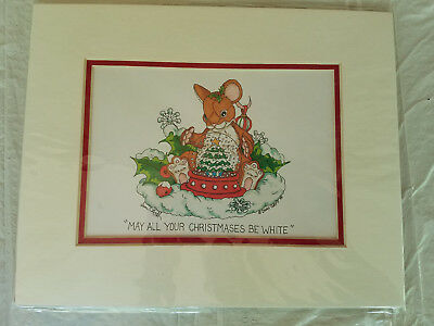 "DEAN GRIFF ""May All Your Christmases Be White"" Matted ARTWORK CHARMING TAILS"