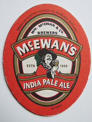 Beer Bar COASTER: McEwan's India Pale Ale ~ Brewed by Scottish Courage, SCOTLAND