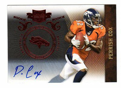 PERRISH COX NFL 2010 PANINI PLATES AND PATCHES AUTOGRAPH (BRONCOS,SEAHAWKS,49ers