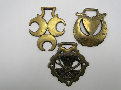 3 old Cast Horse Brass Harness Ornaments
