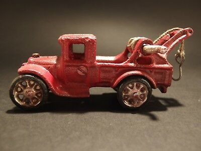 Antique Vintage Style Cast Iron Red Tow Truck Toy Car
