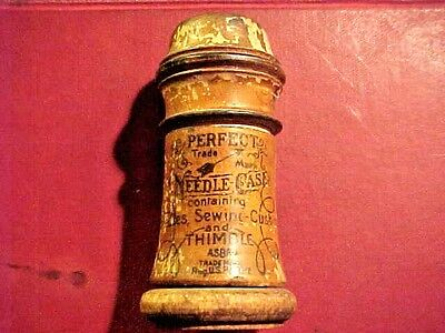RARE Antique Wooden Perfect Needle Case Thimble Cushion Germany #H59