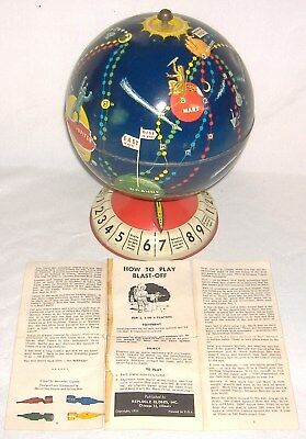 "RARE 1953 REPLOGLE SPACE GAME GLOBE ""BLAST OFF"" w/4 ROCKETS & Instructions"