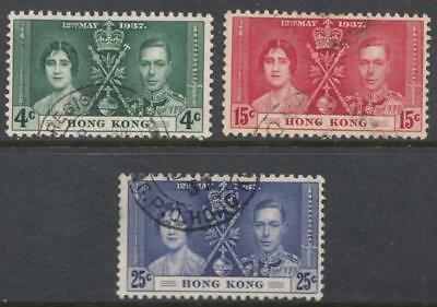 Hong Kong #151-153 used George VI Coronation set 1937 cv $12.50