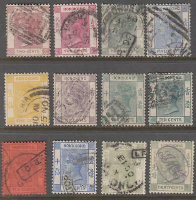Hong Kong Queen Victoria wmk 2 CA 12 diff used stamps cv $164.25