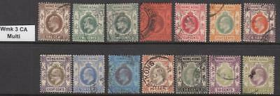 Hong Kong Edward VII wmk 3 multi 14 diff used stamps cv $107.90
