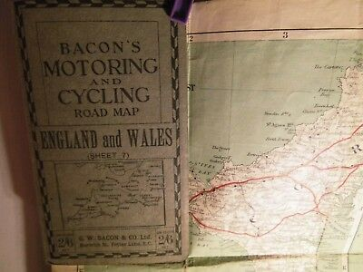 West Country:cornwall,devon,somerset,dorset:traveller's Map-1910-22 George Bacon