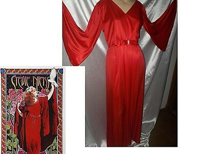 M Vtg 60S 70s Long RED Maxi Dress  Angel wing sleeves Jewel Formal disco hippie