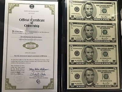 One US Government Issued Uncut Sheet of $5 Bills - Series 2006 - w/ COA