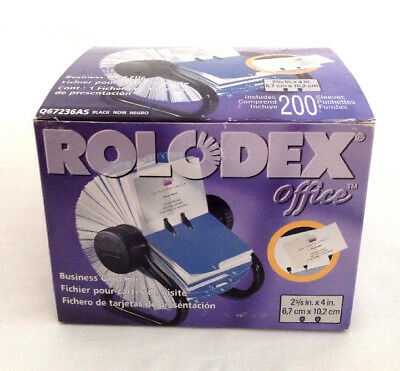 Rolodex 67236 Open Rotary Business Card File 200 Sleeves A-Z Index Tabs Black