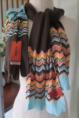 Missoni For Target * Pointelle Long Zig Zag Knit Gloves Nwt And Matching Scarf *