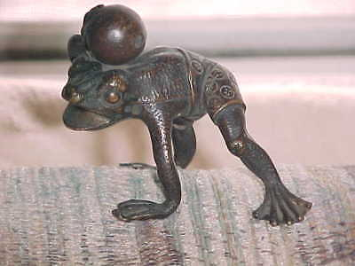 ANTIQUE VINTAGE FIGURAL BRONZE FROG Holding Ball on HEAD Wearing Shorts Chinese?