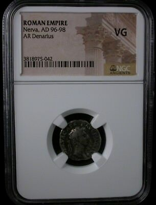 ROMAN EMPIRE Nerva AD 96-98 AR DENARIUS NGC VG ANCIENT COIN