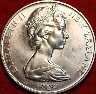 Uncirculated 1969 New Zealand 1 Crown Cook's Chart Clad Coin