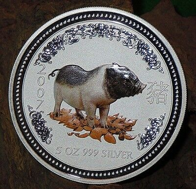 RARE ! ~ 2007 ~.999 SILVER ~5~OZ ~ YEAR of the PIG ~ PERTH MINT ~COLOR ~ $378.88