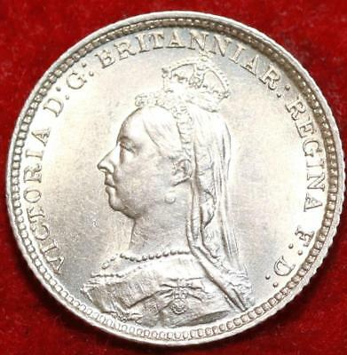 Uncirculated 1888 Great Britain 4 Pence Silver Foreign Coin