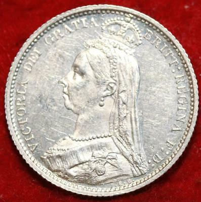 Uncirculated 1887 Great Britain 6 Pence Silver Foreign Coin