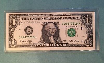 2001 STAR NOTE $1 Dollar Bill , Crisp,uncirculated *GEM* Gift Unc Bill