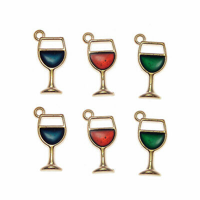 12pcs Jewelry Enamel Alloy Mixed Color Wine in Goblet Pendant Charms Craft 53322