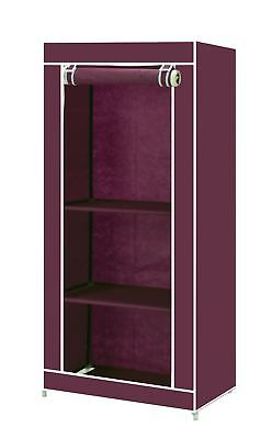 Vinsani Single Wardrobes Storage Robust & Lightweight With An Internal Rail Red