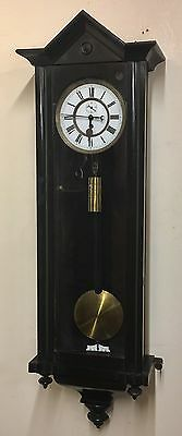Antique Single Weighted Ebonised Vienna Wall Clock by REMEMBER O.V. R.M. Co