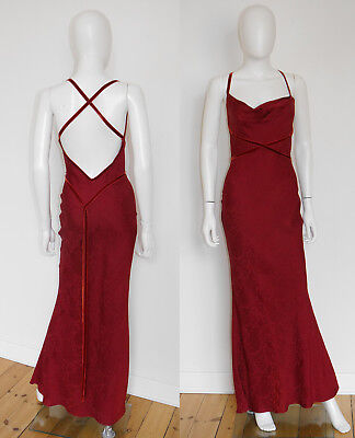 JOHN GALLIANO Vintage Abendkleid 1990s Backless Maxi Evening Dress Gown 36/S