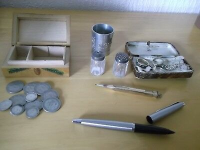 JOB LOT OF ANTIQUE/VINTAGE COLLECTABLES + STAMPED SILVER + ROLLED GOLD 99p 1 MAX