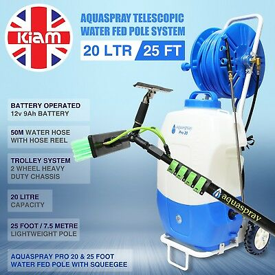 25ft Telescopic Water Fed Pole Squeegee & 20L Spray Tank Window Cleaning Trolley