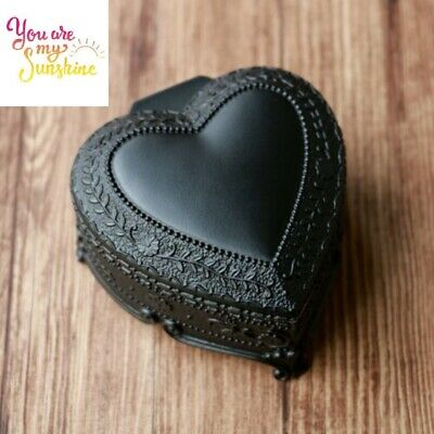 Black Tin Alloy Heart Shape Music Box : You Are My Sunshine