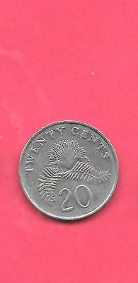 Singapore Km52 1991 Vf-Very Fine-Nice Old Vintage 20 Cents Coin