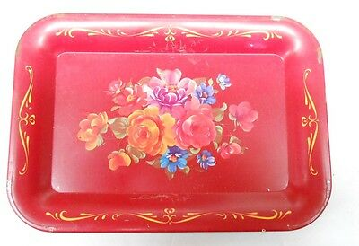 Wheeling Steel Tin Tray Red With Flowers
