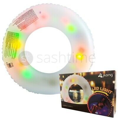 Jumbo Inflatable LED Lighted Beach Swimming Pool Swim Rubber Lilo Float Ring